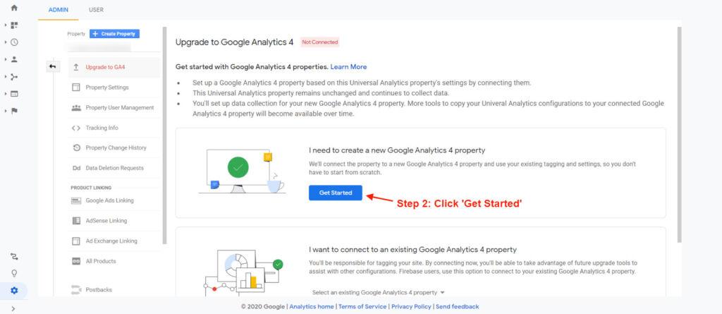 setting up Google Analytics 4 property