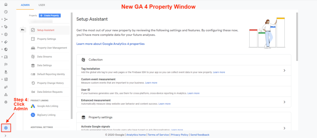 Google Analytics 4 property window
